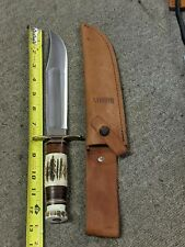 Marbles Gladstone Hunting Knife Stag Handles 8-in Blade Leather Sheath 45 of 50