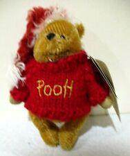 "Disney Boyds Bears ""Winnie the Pooh Santa"" Mohair Christmas Ornament 2002 Retire"