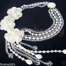 crystal flower necklace Statement Necklace Bid handmade Natural Sea Pearl shell