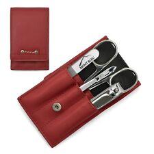 Hans Kniebes Sonnenschein 4-Piece Manicure Set in Nappa Leather Case   Red