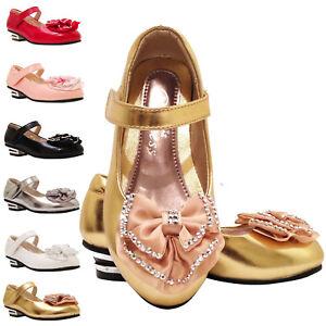 Girls Kids Children Party Diamante lovely wedding Metal Heels Shoes sz7-3