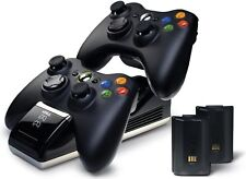 Xbox 360 Wireless Controller Charger Dock Dual Port+2 Rechargeable Batteries .