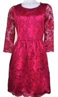 BN-GORGEOUS WAREHOUSE FUCHSIA PINK LACE SKATER DRESS SIZE 8 10 ONLY £14.99