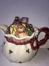Vtg 1994 Fitz and Floyd Santa'S Toy Bag Christmas Holiday Teapot Pitcher 42 Oz