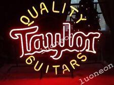 Rare A Quality Guitars Taylor Beer Bar Pub Real Glass Neon Light Sign FREE SHIP