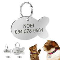 Cat Tags Personalized Cute Fish Pet ID Name Collar Tag Engraved Stainless Steel