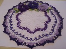 NEW Hand Crochet Doily White & Shades of Purple with Rose Flowers & Pearls