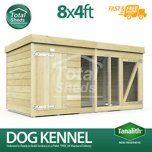 Dog Kennel & Run 8ft x 4ft Fully Pressure Treated Tanalised Timber Free Delivery