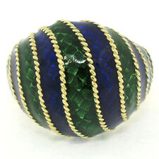 Vintage 18K Yellow Gold Deep Blue & Green Enamel Striped Dome Cocktail Ring Sz 7