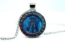 Druid Symbol - Awen - Gunmetal Black Tone Photo Glass Dome Necklace Pendant