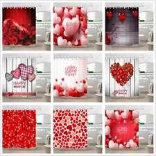 Valentine's Day Hearts Flower Fabric Bath Shower Curtain Waterproof & 12 Hooks