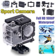 Waterproof Full HD 1080p Sports Action Camera Vidéo Tête casquée Cam Bike DVR UK Stock