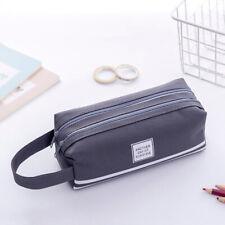 Gray Large Capacity Double Layer Pen Bag Pencil Bag Case Zip For Student School