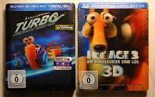 """Turbo"" + ""Ice Age 3"" 2x 3D Bluray Steelbook, mit Lenticularcover, neu&ovp,"