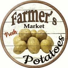 Farmers Market Fresh Potatoes Metal Novelty Round Circular Sign