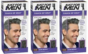 Just For Men Touch of Grey Dark Brown Grey T45 Mens Hair Colour Dye Permanent