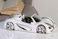 36753 Auto Cabrio de cerámica blanco plata Largo 31,5 cm ancho 14,5 cm