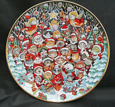 """Adorable Cats Franklin Mint Christmas Plate Santa Claws Bill Bell Portugal Le 8"""""""