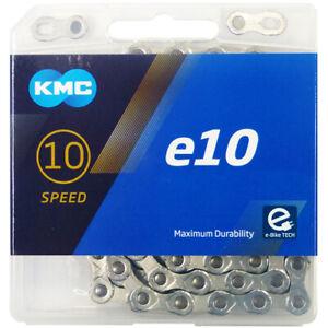 KMC e10 Plateado E-Bike Cadena Bici 122 Eslabones Para 10-fach Motor Central