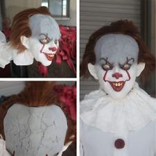 Máscara De Payaso Pennywise Vestido de Disfraz de fiesta de de Horror Halloween Látex Blanco Clásico Nuevo