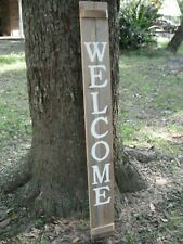 "Wood Door Sign WELCOME  Porch Vertical Weathered Farmhouse Handmade 48"" X 5.5"""