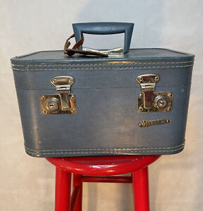 Vintage Blue Monarch Train Case Suitcase Cosmetic Luggage