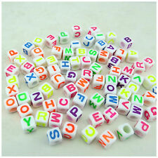 100PCS 7MM White/Multi Mixed Alphabet Letter Acrylic Cube Beads-Jewellery Making