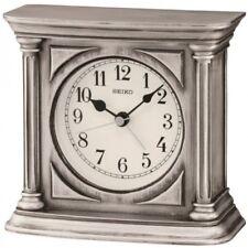 Seiko QXE051S Silver Antique Finish Mantel Alarm Clock