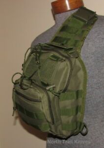 Tactical Backpack Crossbody Bag, Sling Bag, 3 Pouch, O.D. Green, Molle ,Hike
