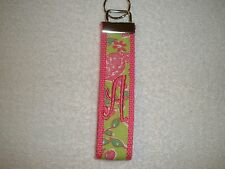 Lilly Pulitzer Turtles Key Fob Keychain, Made of Lilly garments,Choose Monogram