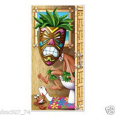 1 LUAU Tropical Hawaiian Party TIKI MAN BATHROOM Restroom DOOR COVER 30in x 5ft