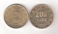 2 PEZZI LIRE 200 FONDO SPECCHIO PROOF E FDC DA DIVISIONALI DEL 1986 REPUBBLICA