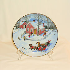 1990 Danbury Mint Old Time Country Winter~The Race Through Town Plate~Sternberg