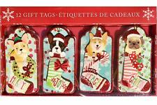 Molly & Rex Christmas Dog Stockings Embellished Gift Tags Boxed 12-Pc NIP
