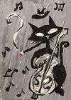 Original ACEO Painting Cat Black Guitar Miniature Card Art By Carole Collins