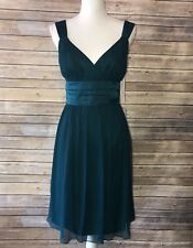Maggy London Dark Teal Cocktail Dress Ladies SZ 12 100% Silk 48I