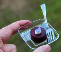 Pack of 12 Tiny Plastic Square Plates . . . . Ideal for samplings, starters etc