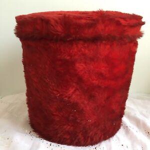Vintage Pouf coffre de rangement moumoute peluche poils rouge des années 60-70