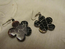 "Black - Brown & White Cracked Look Acrylic Flower Drop Earrings - 2"" long"
