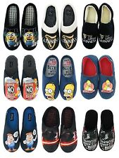 MENS OFFICIAL NOVELTY SLIP ON CASUAL FLAT WARM SLIPPERS MULES UK SIZE 7-12