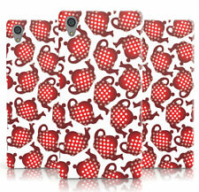 DYEFOR RED POLKA DOT TEAPOT PRINT WHITE PHONE CASE COVER FOR SONY XPERIA