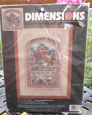 "DIMENSIONS counted X-stitch Kit SIDE BY SIDE animals NOAH's ARK by Mock 11""x17"""