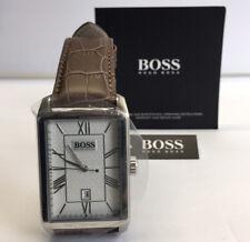 New!! hugo Boss Men's Architecture Silver Dial Brown Leather Strap Quartz Watch