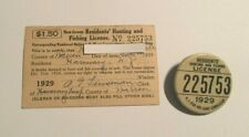 1929 Vintage New Jersey Hunting & Fishing License with Matching Button