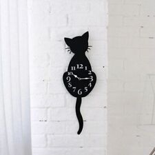 Cat Wall Clock for Home Decor Cute Black Cat Wall Clock with Moving Ticking Tail
