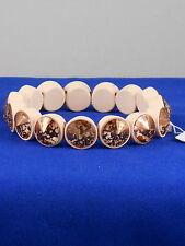 Betsey Johnson Pink MARIE ANTOINETTE Rose Gold Mirrored Rivoli Stretch Bracelet