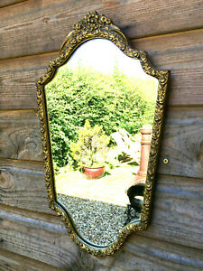 Vintage Antique Rococo Style Gesso Gilt Framed Wall Mount Hallway Mantle Mirror