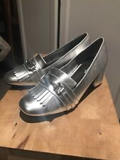 Miss shop Women's Heeled Silver Loafer Size 7 Excellent Condition Never Worn