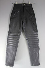 JTS BLACK LEATHER BIKER TROUSERS SIZE 10: WAIST 26 INCHES/INSIDE LEG 31 INCHES