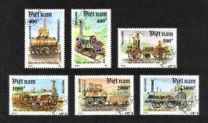 Vietnam 1991 Early Railway Locomotives short set of 6 values used